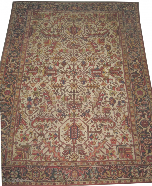 """Heriz Persian knotted circa in 1918 antique, 316 x 229 (cm) 10' 4"""" x 7' 6""""  carpet ID: P-5764 The black knots are oxidized, the knots are hand spun wool, the selvages  ..."""