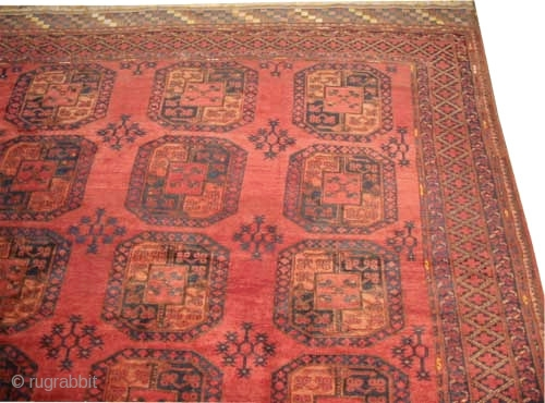 """Ersari Afghan knotted circa in 1925 semi antique, Size: 720 x 331 (cm) 23' 7"""" x 10' 10""""  carpet ID: P-5019 Each of two edges are finished with 30cm colored and designed  ..."""