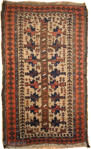 """Belutch Persian circa 1900 antique. Collector's item. Size: 70 x 40 (cm) 2' 4"""" x 1' 4""""   carpet ID: K-4643  Vegetable dyes, camel hair background with tree of life design, designed  ..."""