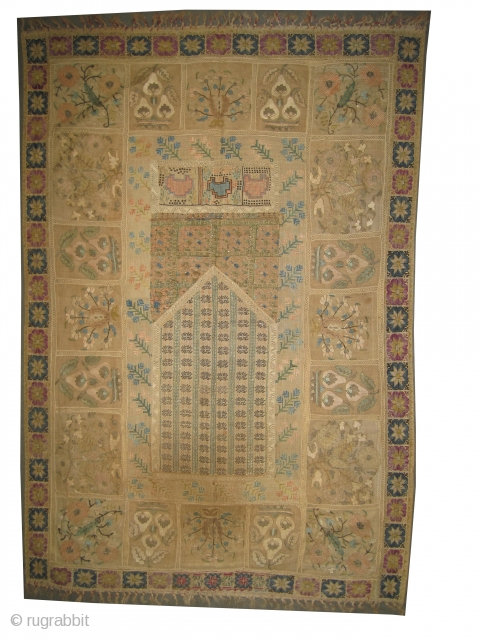 """Greek embroidery circa 1875 antique. Collector's item, Size: 136 x 91 (cm) 4' 6"""" x 3'    carpet ID: A-1015 Greek Island patchwork embroidery. Part is embroidered with silver and silk threads.  ..."""