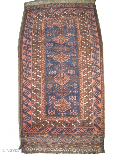 """Belutch balisht Persian circa 1905 antique. Collector's item, Size: 95 x 51 (cm) 3' 1"""" x 1' 8""""  carpet ID: K-2002 vegetable dyes, high pile, good condition, the black color is  ..."""