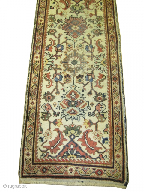 """Mahal Persian knotted runner circa in 1910 antique, Size: 404 x 84 (cm) 13' 3"""" x 2' 9""""   carpet ID: K-3507 One edge is finished with 2cm kilim, all over floral design,  ..."""