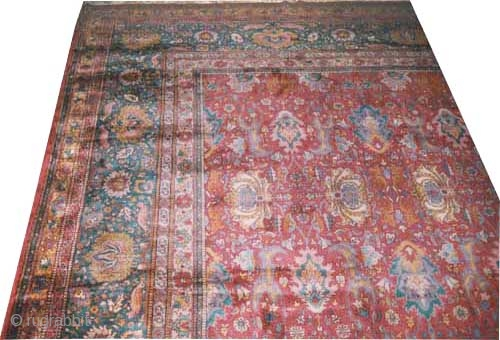 """Sarouk carpet. Size: 755 x 455 (cm) 24' 9"""" x 14' 11"""" Thick pile (1cm), all over floral design, 16th century design, in perfect condition, very fine knotted, the knots are hand spun  ..."""