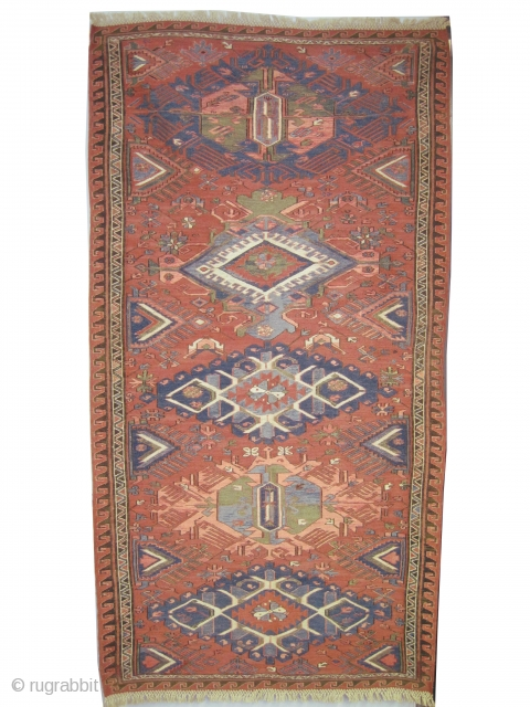 "Soumak Caucasian, woven with soumak technique circa in 1890 antique, Size: 191 x 102 (cm) 6' 3"" x 3' 4""  carpet ID: A-1003 In good condition, minor repairs already done, dragon  ..."