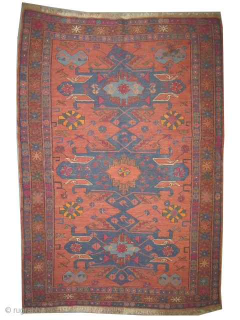 """Soumak Caucasian from Kuba province, woven circa in 1915 antique, Size: 191 x 129 (cm) 6' 3"""" x 4' 3""""  Carpet ID: A-992 in perfect condition."""