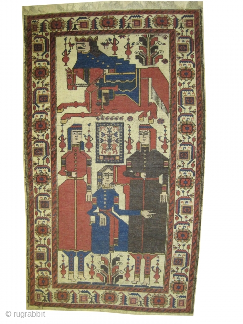 "Name: Pictorial Belutch Persian, knotted circa in 1915 antique, Size: 208 x 117 (cm) 6' 10"" x 3' 10""  carpet ID: E-101