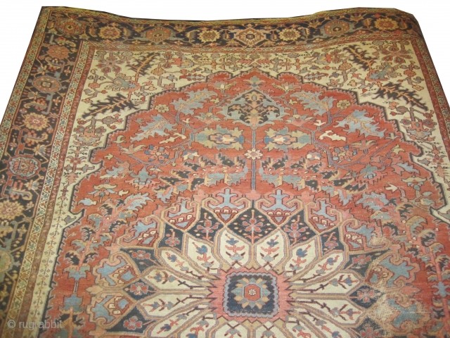 """Serapi Heriz Persian, knotted circa in 1890 antique.  404 x 294 (cm) 13' 3"""" x 9' 8""""   carpet ID: P-4278 Tthe knots are hand spun lamb wool, from the left side  ..."""