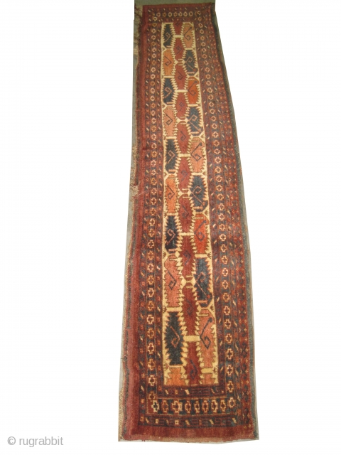 """Beshir Turkmen circa 1910, antique, collector's item, Size: 172 x 32 (cm) 5' 8"""" x 1' 1""""   carpet ID: K-2731 High pile, perfect condition, the warp and the weft threads are 100%  ..."""