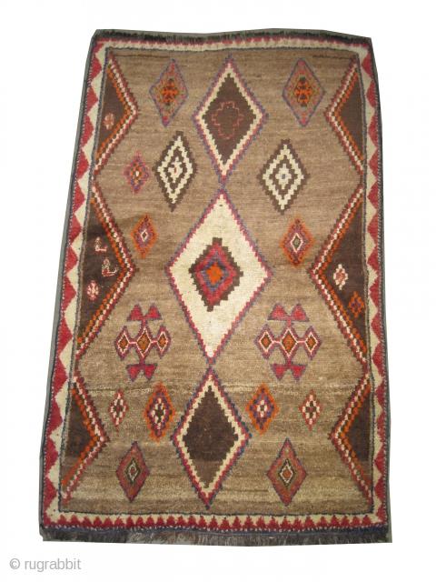 """Gabbeh Louri Persian circa 1910 antique, collector's item, Size: 173 x 110 (cm) 5' 8"""" x 3' 7""""  carpet ID: T-721 the knots are hand spun wool, the shirazi borders are  ..."""