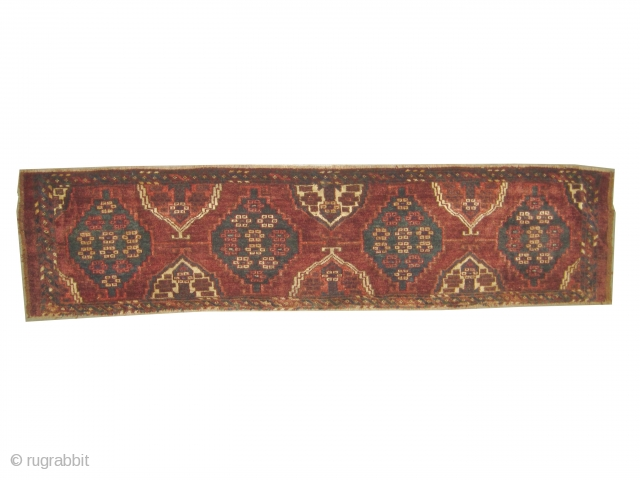 """Tschaudor Turkmen circa 1890 antique. Collector's item. Size: 154 x 36 (cm) 5' 1"""" x 1' 2""""  carpet ID: K-4954 Vegetable dyes, the brown color is oxidized, the knots are hand  ..."""