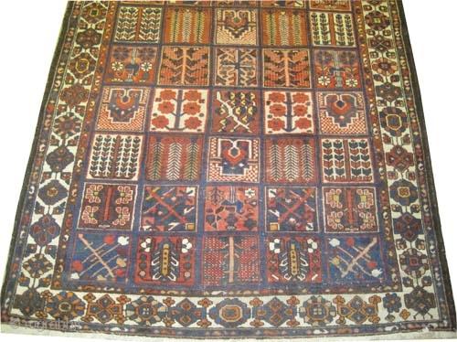 "Baktiar Persian circa 1918 antique. Size: 283 x 217 (cm) 9' 3"" x 7' 1""  carpet ID: P-6262  Vegetable dyes, the black color is oxidized, the knots are hand spun wool,  ..."
