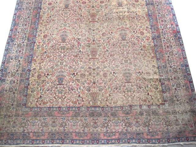 "Kirmanshah Persian circa 1910 antique. Size: 386 x 286 (cm) 12' 8"" x 9' 5""  carpet ID: P-3870