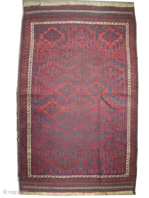 """Belutch Persian circa 1905 antique. Collector's item, Size: 132 x 94 (cm) 4' 4"""" x 3' 1""""   carpet ID: E-217 Vegetable dyes, the black color is oxidized, the knots are hand spun  ..."""