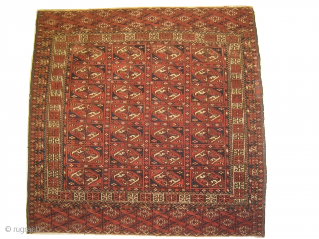 Tekke Turkmen circa 1880 antique, collectors item. Size: 97 x 100cm, Carpet ID: GY-1 The warp and the weft threads are 100% wool, the knots are hand spun wool, very fine knotted, rare  ...