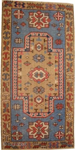 "Fachralo Kazak Caucasian knotted circa in 1915 antique. Collector's item, 92 x 48 (cm) 3'  x 1' 7""  carpet ID: K-5608