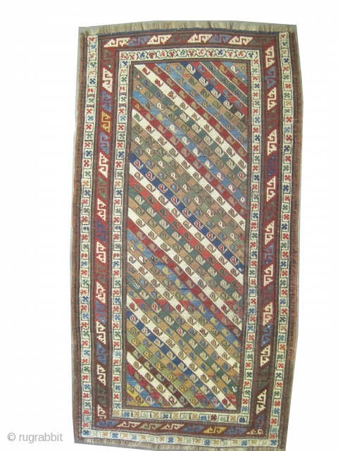 """Gendja Caucasian circa 1900 antique. Collector's item, Size: 181 x 95 (cm) 5' 11"""" x 3' 1""""  carpet ID: K-3543 Vegetable dyes, the warp and the weft threads are 100% wool,  ..."""