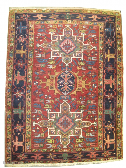 """Karadja Persian knotted circa in 1910 antique, 129 x 98 (cm) 4' 3"""" x 3' 3""""  carpet ID: K-5805 High pile, in perfect condition."""