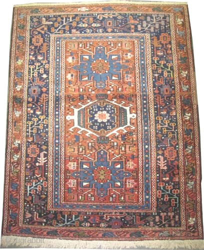 """Karadja Persian knotted circa in 1910 antique.  137 x 110 (cm) 4' 6"""" x 3' 7""""  carpet ID: K-4285  High pile, in perfect condition, the background color is warm rust,  ..."""