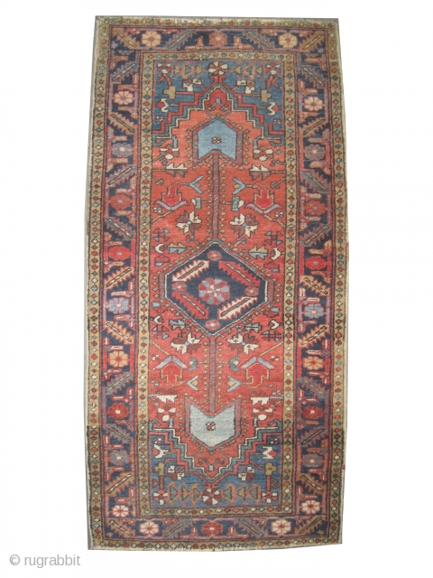 """Serapi Heriz Persian knotted circa in 1905 antique, collector's item, 186 x 90 (cm) 6' 1"""" x 2' 11""""  carpet ID: P-2363 Uniformly short pile, in good condition, the background color is  ..."""