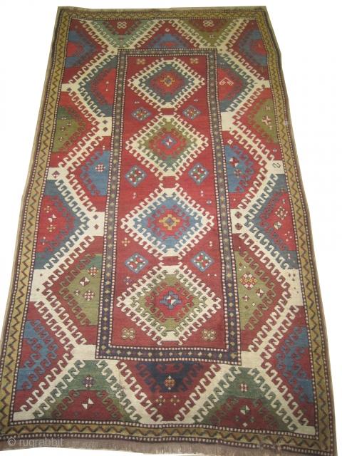 """Bordjalou-Kazak Caucasian circa 1890 antique.  Size: 144 x 263 (cm) 4' 9"""" x 8' 7""""  carpet ID: H-285 Vegetable dyes, the black color is oxidized, the knots are hand spun wool,  ..."""