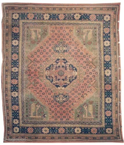 "Ushak Anatolian circa 1910 antique. Size: 300 x 258 (cm) 9' 10"" x 8' 6""  carpet ID: P-5271, the black color is oxidized, the knots are hand spun wool, Ghiordez knots,  ..."