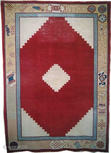 """Chinese Art Deco period, Size: 285 x 202 (cm) 9' 4"""" x 6' 7""""  carpet ID: P-5752 Rare subject, the knots are hand spun wool, geometric design, part of the background is  ..."""