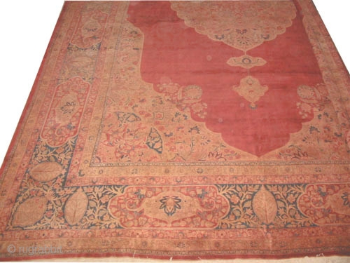 "Hajijelili Tabriz Persian circa 1910 antique.  Size: 710 x 475 (cm) 23' 3"" x 15' 7""  carpet ID: P-5956 Vegetable dyes, the knots are hand spun wool, the shirazi borders are  ..."