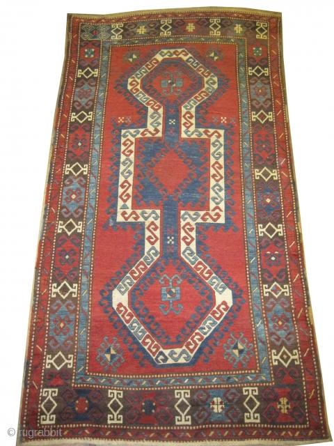 "Sevan Kazak Caucasian circa 1885 antique. Collector's item, Size: 275 x 144 (cm) 9'  x 4' 9""  carpet ID: K-4114 Vegetable dyes, the black color is oxidized, the knots are hand  ..."