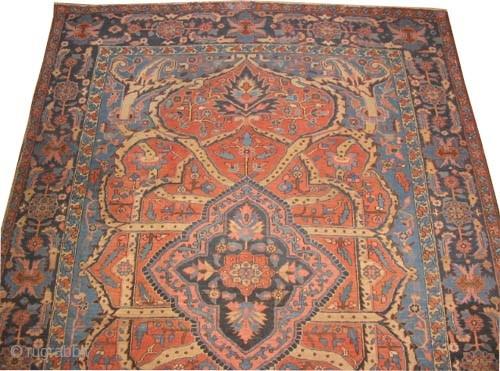 "Bakshaish Heriz Persian circa 1905 antique. Collector's item. Size: 350 x 250 (cm) 11' 6"" x 8' 2""  carpet ID: P-4753 Vegetable dyes, the black color is oxidized, the knots are hand  ..."