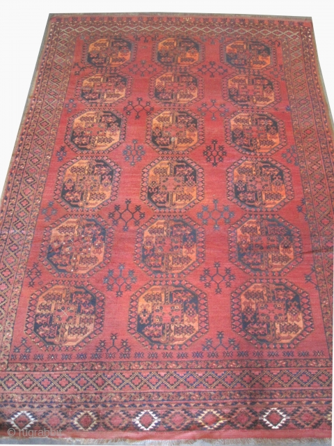 """Ersari Turkmen knotted circa in 1890 antique, collector's item,  360 x 246 (cm) 11' 10"""" x 8' 1""""  carpet ID: P-5743 High pile in perfect condition, the warp and the weft  ..."""