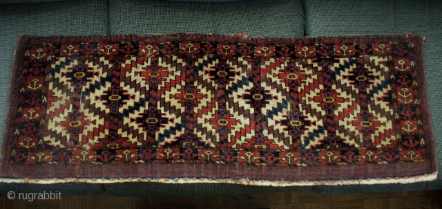 """Jomud group, Asmalyk-gul torba. 45"""" X 16.""""  Symetric knots 8H X 15V. Great color, some wear, as shown. Great color, but weft shows dye-transfer.  Attractive piece."""