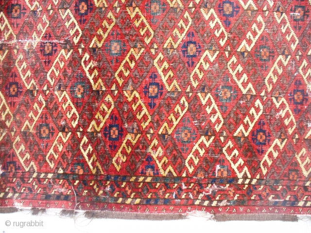 Chodor Carpet, Good pile but seamed in several spots. Judged by those who know to be c. 1870. Extensive cotton in weft. Goat hair warp. POR/Make Offer.  SOLD!