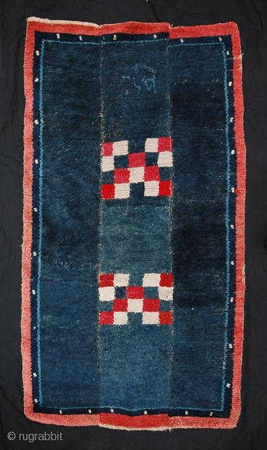 Rare Tibetan nomadic rug from Ladakh with inscription. Early 20C. Good condition. For details, please ask. These type is called Tsukdruk, Tsuk-druk (or Tsuktruk tsuk truk).