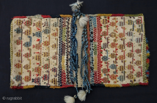 South Persian Brocaded Mini Khorjin, ca. 1900, 26x48cm, complete in great condition. Another beautiful dowry piece!