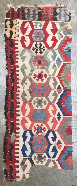 Anatolian kilim fragment, 19th c., featuring the notorious double hook design, 1 center patched (see it circled)