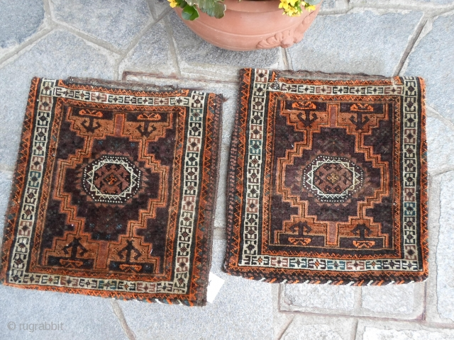 41x44 + 44x42 cm. A pair of Belouch khordjin Full pile and beautiful natural colors. *********************************************** Vendute ____ sold   / GRAZIE !  THANKS!