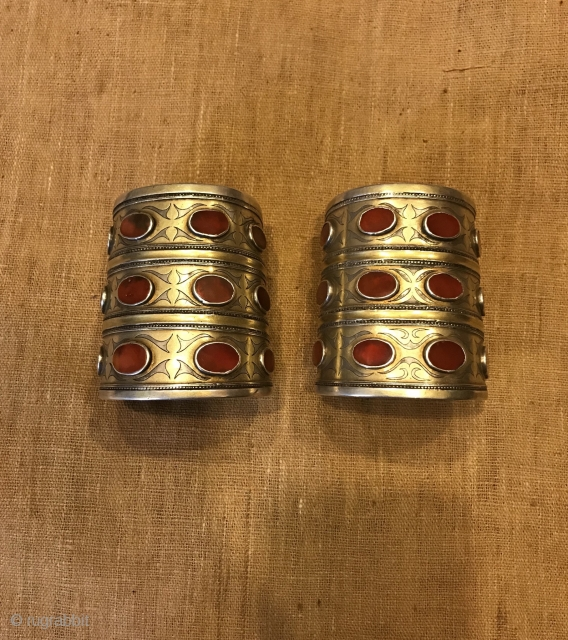 Vintage handmade turkmen silver jewelry bracelets 