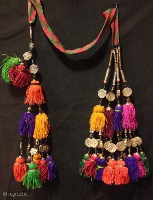 """Vintage Uzbek afghan tribal silver tassel  Size : Height : 50 cm  100% silver handmade  VINTAGE UZBEK TASSELS : """"Segusha""""( Triangle) is a decorative embellishments, whose function, was to decorate the beddings tucked away folded against the  ..."""