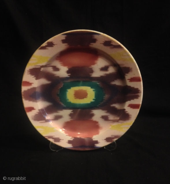 Uzbek Ikat vintage old plate 