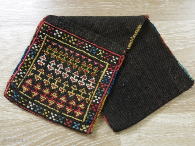 """Shahsavan mini saddle bag. Wool on goat hair with natural colors. It is a nice ethnographic piece.  Size: 45 cm x 18 cm (17.5"""" x 7"""")."""