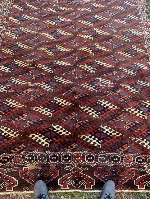 Large Turkmen Yomud Carpet - 7'0 x 11'5 / 215 x 350 cm.  has some old repairs, usable as is, priced accordingly. $950 plus shipping cost.