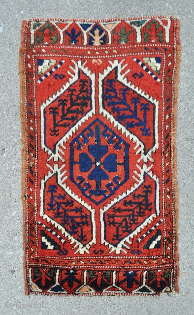 Central Anatolian Gelveri Yastik , all good colors and in good shape. The dark blue looking colors in the saz leafs is actually a deep green - 22 x 38 - 56  ...
