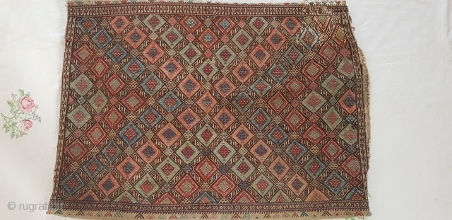 A very fine East anatolian antique Grain bag, verneh weave. Repair of approx 5inches sq to top corner. Fantasic work and good colours.