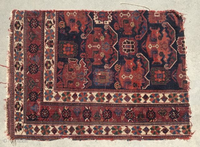 Afshar main carpet fragment with good age, saturated colors.