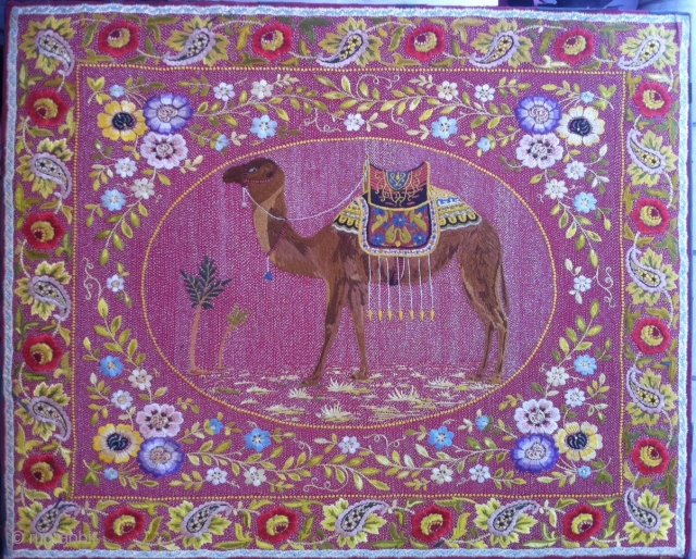 European ( France ? ! ) Orientalist embroidery :-) First half 19th , Size : 82x67cm Good condition ,