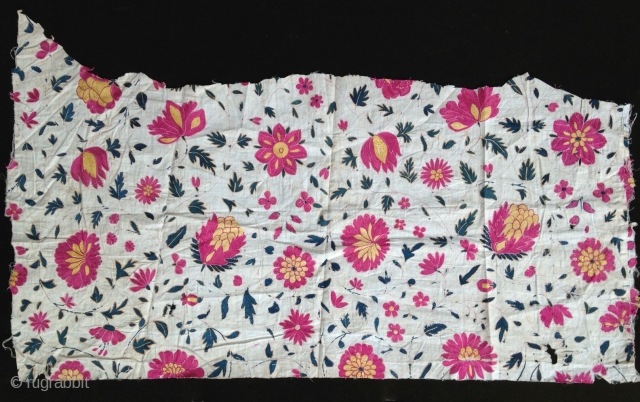Beautiful frag of 'Moghol' period embroidery from india , Silk on coton, Circa : 18th, Size : 58cmX34cm