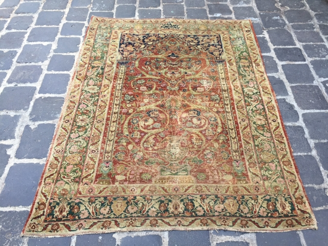 Antique hajji jalili tabriz prayer rug fantastik design signed size 173x133 cm