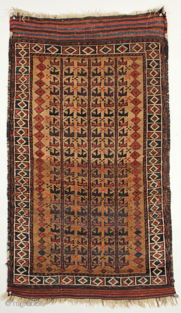 A magnificent camel hair Baluch tree of life. Mid 19th century. Northeast Persia. 2-3 x 3-10 ft.