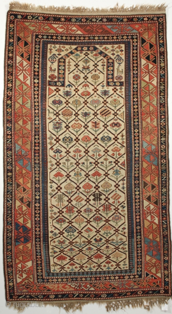 Dagestan Prayer rug. Circa 1880. 3-2 x 5-9 ft.