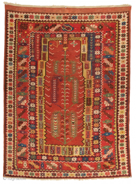 Magnificent Milas Prayer Rug, Anatolia 2nd half 19th. Century. 3-9 x 5-1 ft. Up for auction this Sunday March 25th at 11.00 A.m. Link to auction: https://www.liveauctioneers.com/catalog/116647_antique-tribal-rugs-and-t...